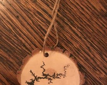Lake ornament. Lake map ornament.
