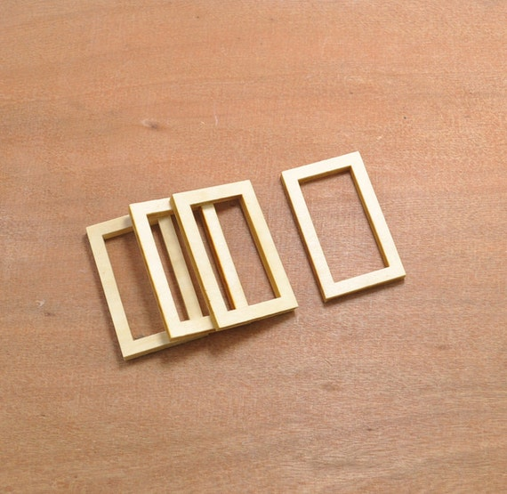 Wood Craft20pcs Wood Rectangle Hollow Out Wooden Pendantwood Etsy