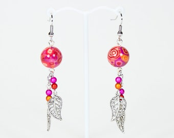 Red, charms and polymer earrings