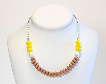 Bright yellow necklace, freshwater bead necklace, wood and glass beads. Colorful wooden jewelry and beads. Yellow jewelry. Wooden necklace.