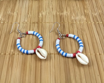 "Circular ""matelot"" earrings. Striped creoles. Jewelry by the sea. Jewelry seashells. Jewels with charms"