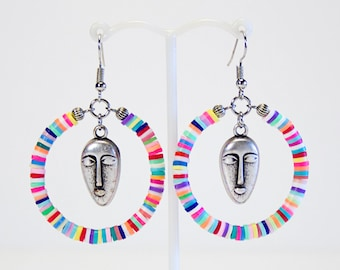 Creole earrings masks and multicolored washers. Heishi earrings. Ethnic Creoles mask. Colorful tropical jewelry