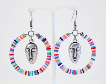 Creole earrings masks and multicolored washers, heishi earrings, ethnic creoles, colorful tropical jewelry