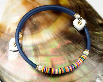 Fine bracelet multicolored freshwater pearls navy blue cord. Blue striped bracelet. Jewelry heishi. Stackable bracelet with heart charms