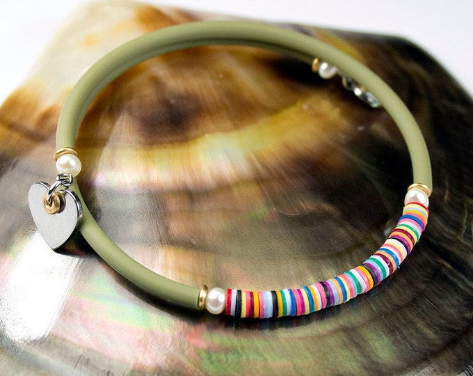 Featured listing image: Fine bracelet multicolored freshwater pearls khaki cord. Green striped bracelet. Jewelry heishi. Stackable bracelet with charms. Jewel Hearts