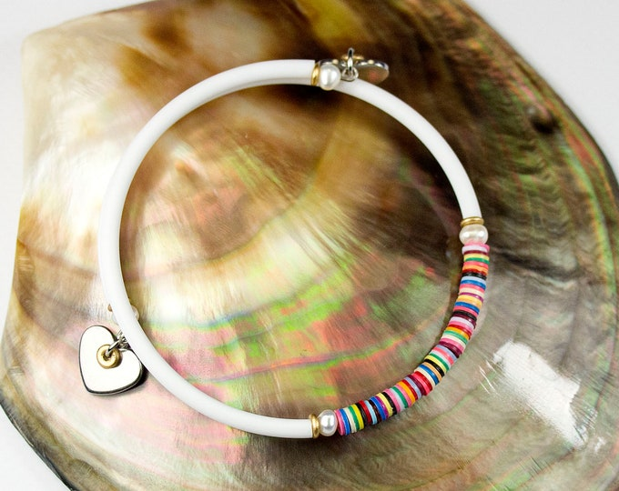 Featured listing image: Fine bracelet multicolored freshwater pearls white cord. White jewel with stripes. Jewelry heishis. Stackable bracelet with charms. Jewel Hearts