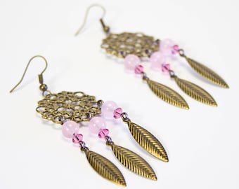 Pink Calcedon earrings mounted on a bronze print. Light fine stone earrings. Jewelry in pink calcedoine.