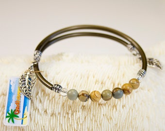 Wildhorse Jaspe bracelet with bronze cord, stackable fine stone bracelets, customizable Bangle, spring summer jewellery