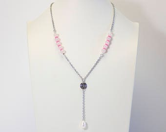 Y necklace in pink Quartz and freshwater pearl. pink quartz necklace and freshwater pearl. Jewelry fine stones. Pearl jewelry. Long necklace