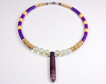 """Sea urchin pencil necklace and quartz """"pineapple"""", heishi neck ras, unique jewel, fine stone necklace and heishi, trendy heishi jewelry"""