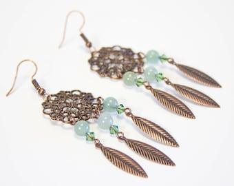 Aventurine earrings and copper prints. Green fine stone earrings. Green aventurine earrings.