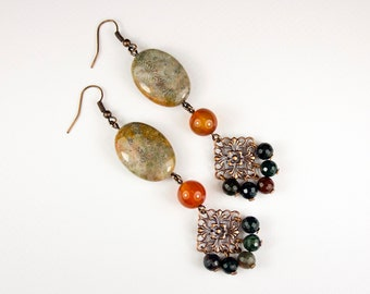 Fossilized Coral, Cornaline and Jaspe earrings. Fossil coral, cornaline and jasper jewelry. Large fine stone ear pendant