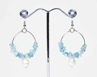 Aquamarine Creoles and freshwater pearls