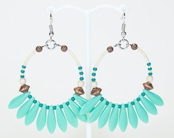Turquoise green hoop earrings, summer Creoles, colorful jewellery for summer