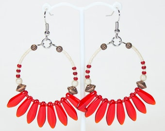 Red Creole earrings with stripes, colorful creoles, summer creoles