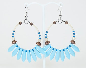 Turquoise Blue hoop earrings, summer Creoles, colorful jewellery for summer