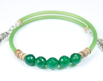 Faceted green Agate bracelet with matching cord, customizable fine stone bracelet, fine stone rush, green jewelry, jewelry