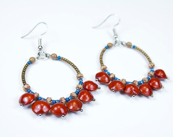 """Creoles """"church seeds."""" Natural seed earrings. Jewelry in seeds. Autumn color earrings. Autumn Jewelry"""