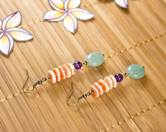 Aventurine earrings, amethyst and shell rings. Fine stone earrings. Fine stone striped jewelry.