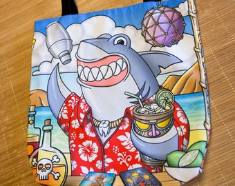 "Colorful bag toss illustration ""shark"". Unisex tote bag original design. Tote bag original humorous illustration shark bartender"