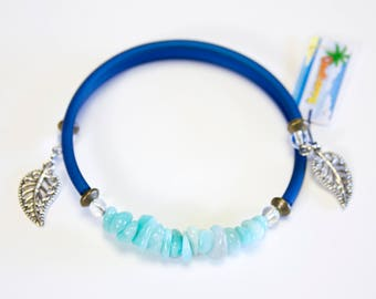 Amazonite bracelet with Navy cord, stackable Bangle, summer bracelet, turquoise and dark blue coloured bracelet