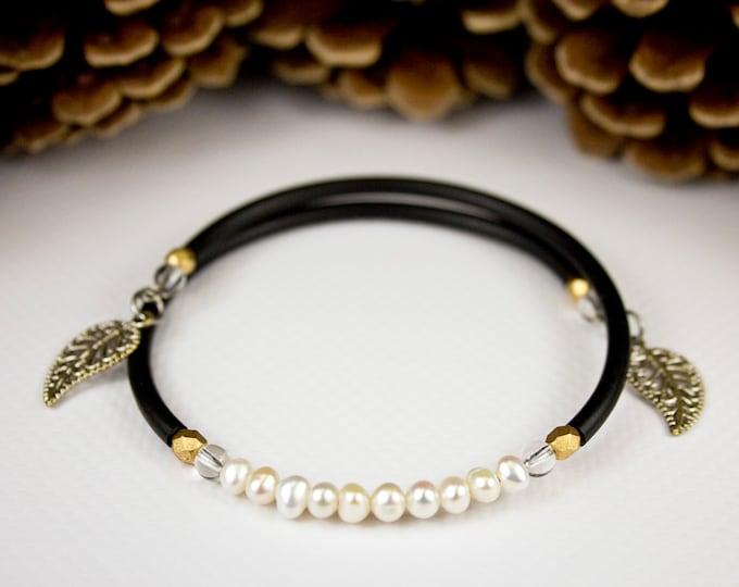 Featured listing image: Small black cord freshwater bead bracelet, black and white bracelet, freshwater pearl jewelry, black and white jewelry, chic bracelet