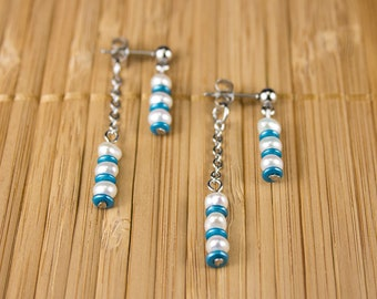 """Front-behind"" earrings with stainless steel wedding stripes and small freshwater beads, several colours available"