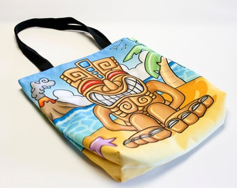 """Tiki Motu"" design bag 41cmX41cm. Tote bag TIKI original illustration. Multicolored shoulder bag. Tropical colorful tote bag"