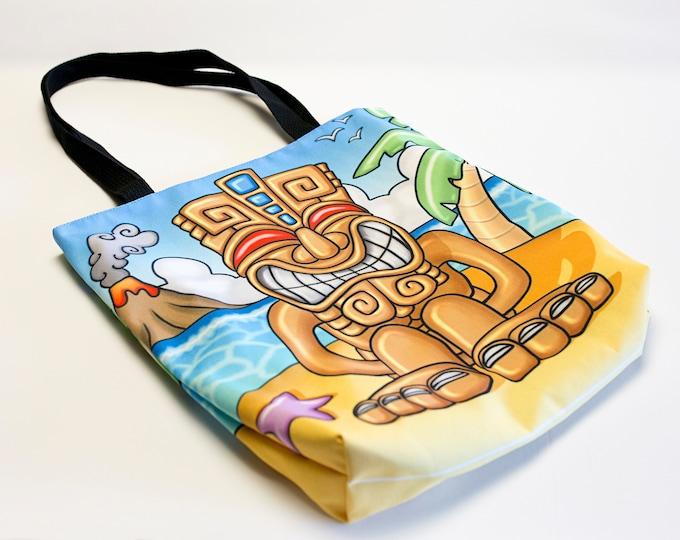 """Featured listing image: """"Tiki Motu"""" design bag 41cmX41cm. Tote bag original illustration. Multicolored shoulder bag. Cartoon pattern bag. Bag stuffs everything"""
