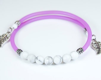 Howlite bracelet with purple cord, white stone bracelet, stackable rush, colorful cord stone jewelry, purple lilac bracelet