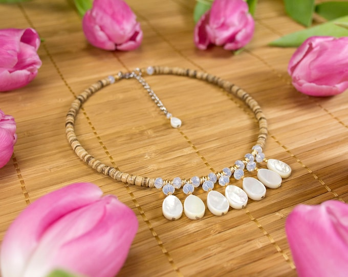 Featured listing image: White mother-of-pearl pendant neck necklace, glass and wood. Natural necklace drops of white mother-of-pearl. Ras of mother-of-pearl white neck. Jewel in Mother-of-pearl.