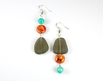 Pair of asymmetrical amazonite earrings, Jaspe and sand-frosted glass. Asymmetrical jewels fine stones. Asymmetrical loops