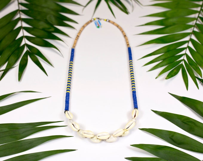 Featured listing image: Long necklace in Polynesian shells and African vinyl blue version with yellow stripes. Cauris necklace and wood. Jewelry in seashells