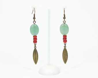 Aventurine puck earrings and Coral washers. Jewelry aventurine. Coral jewel. Leafy earrings