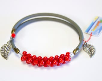 Sea bamboo bracelet with khaki cord, red bracelet, charm strap, colorful bracelet. Sea bamboo jewelry. Red jewelry