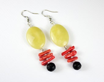 Jade Lemon Earrings, Coral Branch and Lava Stone. Tricolour fine stone loops. Red coral jewelry and fine stones.