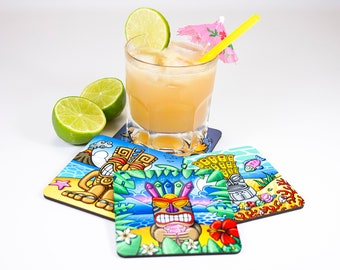 "Set of 4 colorful coasters, illustrations ""Tikis"", original drawings, gift for aperitif, multicoloured decorative objects, Bar Accessories"