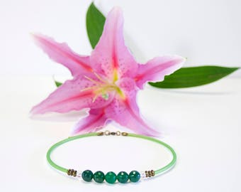 Faceted green Agate and green cord beads Choker necklace