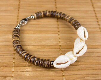 Men's/female shells and coconut bracelet. Men's bracelet and coconut washers. Unisex jewel natural materials on stainless steel