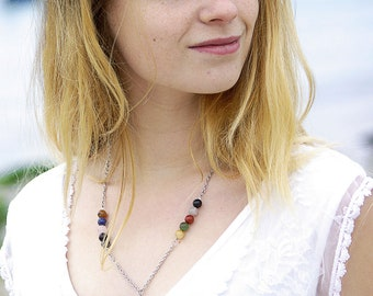 """Necklace """"Y"""" of various fine stones and freshwater pearl. Y-shaped fine necklace. necklace in multicoloured stones and freshwater pearl."""
