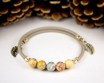 "Jaspe bracelet ""sky eye"" beige cord. Jewelry in jaspe sky eye. Stone beaded bracelet. charm bracelet. trendy stone jewelry"