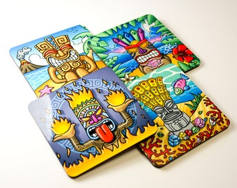 """Set of 4 colorful coasters, illustrations """"Tikis"""", original drawings, gift for aperitif, multicoloured decorative objects, Bar Accessories"""