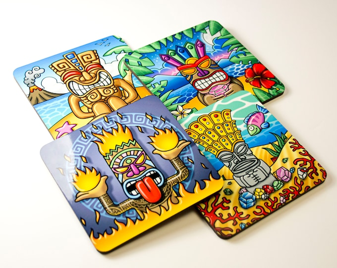 """Featured listing image: Set of 4 colorful coasters, """"Tikis"""" illustrations, original drawings. Gift for the aperitif. Tropical decorative objects. Bar accessories"""