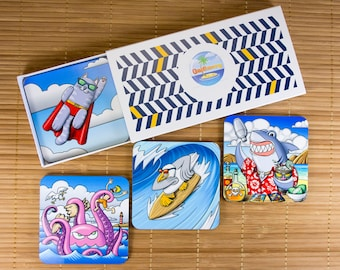 "Set 4 coasters original illustrations. Humorous illustration ""Animals"". Set for aperitif. Housewarming gift. Gift for the aperitif"