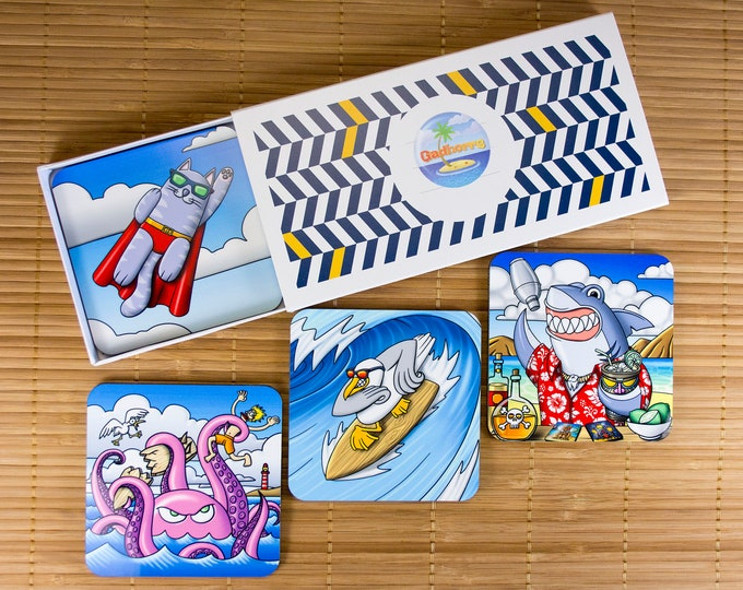 Featured listing image: Set of 4 coasters with original illustrations. Under funny animal glasses. Set for aperitif. A housewarming gift. Gift for the aperitif