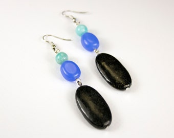 Amazonite, Quartz and Jaspe earrings. Fine stone jewelry. Pair of tricolour earrings in fine stones. Jewelry woman