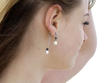 """Earrings """"front-behind"""" stainless steel freshwater beads, several colors available. Jewelry in pearls. Chic curls"""