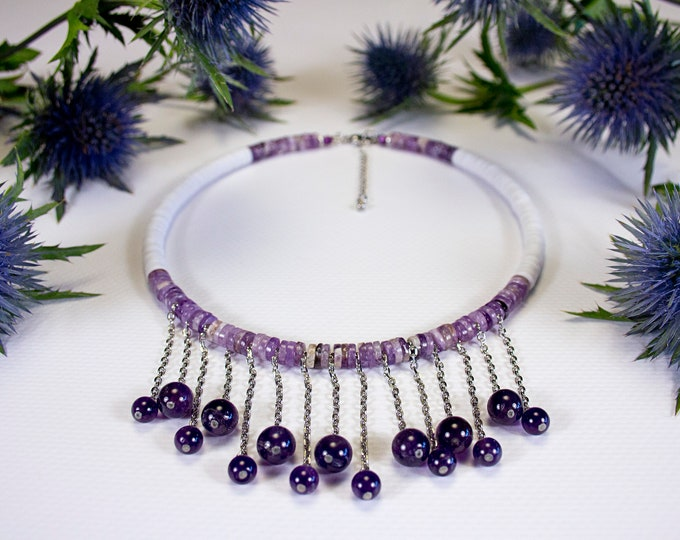 Featured listing image: Short necklace in Amethyst and white vinyl. Original fine stone necks. Purple necklace. Jewel in amethyst. Unique artisan necklace