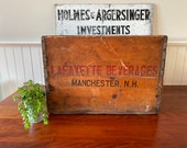 Vintage Beverage Crate Manchester New Hampshire Wooden Crate Advertising Crate Vintage Lafayette Advertising Crate Wooden Crate Vintage
