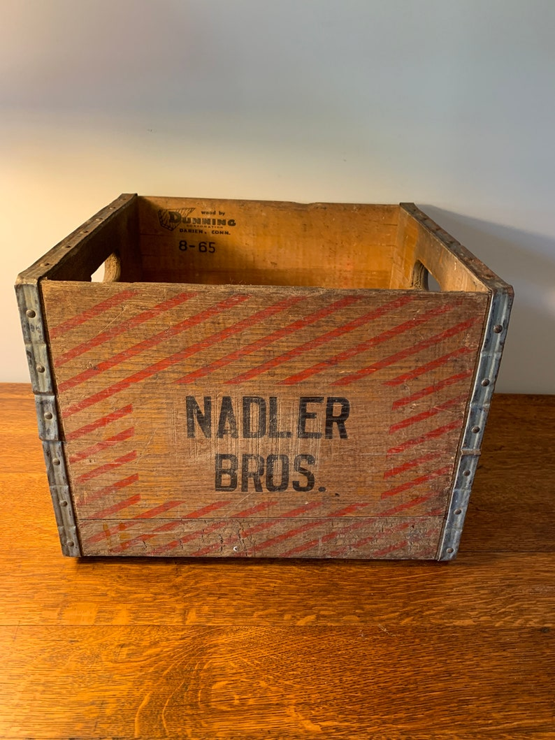 Vintage Wooden Milk Crate Wood Crate Advertising Crate Vintage Wood Milk Crate Box Crate Wooden Crate Vintage Amsterdam New York Nadler Bros